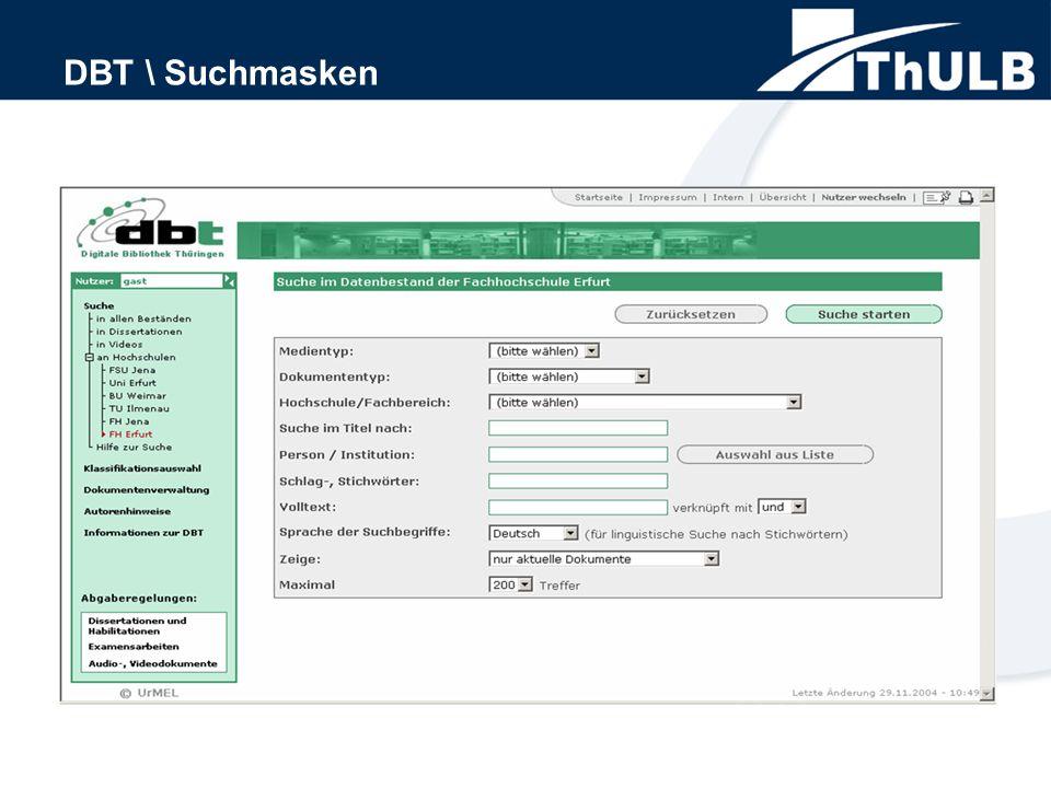 DBT \ Suchmasken