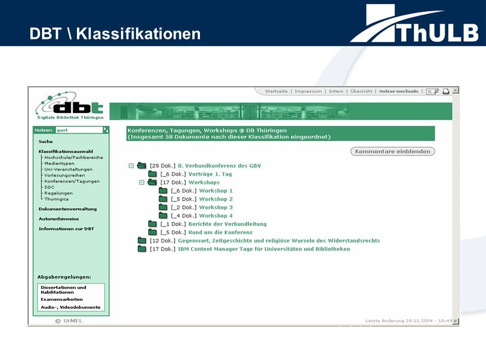 DBT \ Klassifikationen