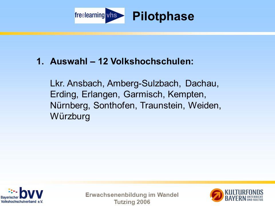Erwachsenenbildung im Wandel Tutzing 2006 Pilotphase 1.Auswahl – 12 Volkshochschulen: Lkr. Ansbach, Amberg-Sulzbach, Dachau, Erding, Erlangen, Garmisc