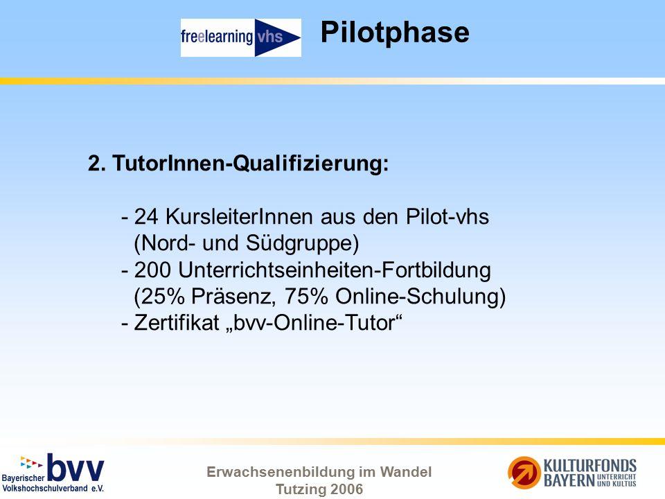 Erwachsenenbildung im Wandel Tutzing 2006 Pilotphase 2. TutorInnen-Qualifizierung: - 24 KursleiterInnen aus den Pilot-vhs (Nord- und Südgruppe) - 200
