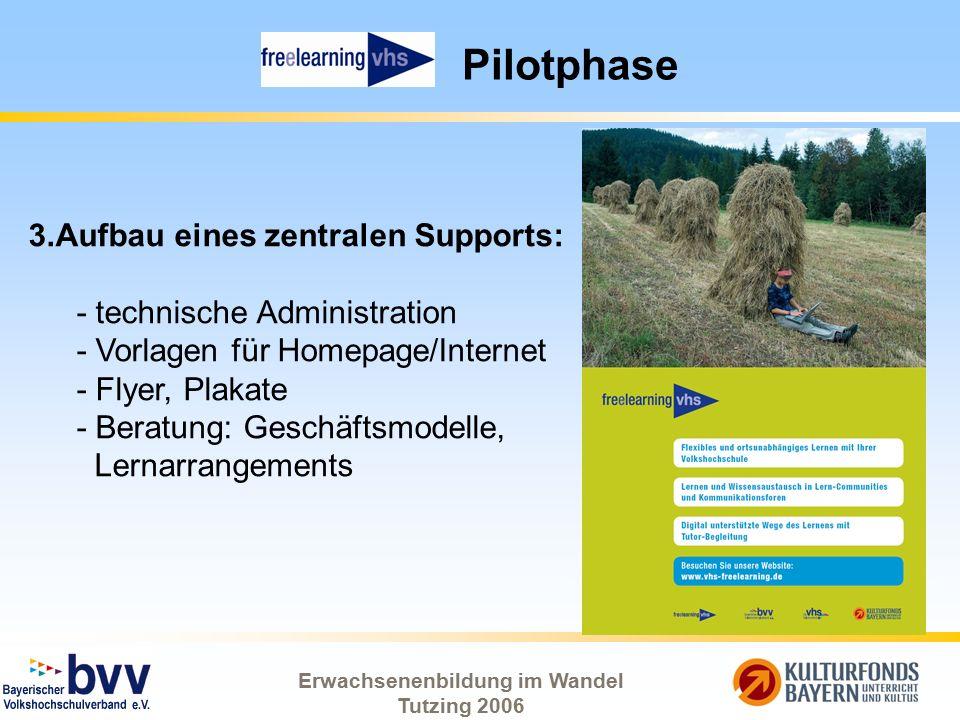 Erwachsenenbildung im Wandel Tutzing 2006 Pilotphase 3.Aufbau eines zentralen Supports: - technische Administration - Vorlagen für Homepage/Internet -
