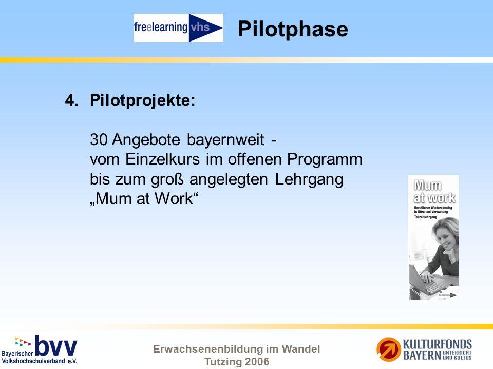 Erwachsenenbildung im Wandel Tutzing 2006 Pilotphase 4.Pilotprojekte: 30 Angebote bayernweit - vom Einzelkurs im offenen Programm bis zum groß angeleg