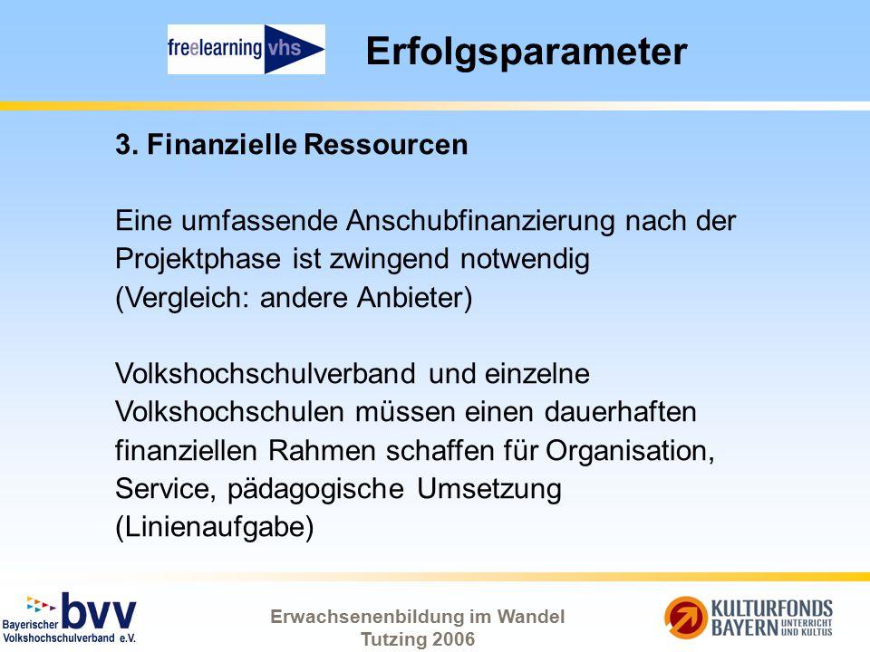 Erwachsenenbildung im Wandel Tutzing 2006 Erfolgsparameter 3. Finanzielle Ressourcen Eine umfassende Anschubfinanzierung nach der Projektphase ist zwi