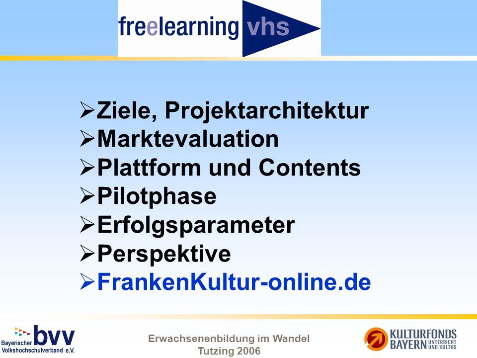Erwachsenenbildung im Wandel Tutzing 2006  Ziele, Projektarchitektur  Marktevaluation  Plattform und Contents  Pilotphase  Erfolgsparameter  Per