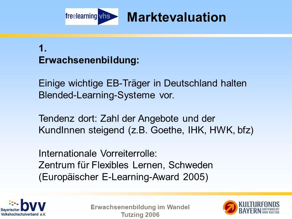 Erwachsenenbildung im Wandel Tutzing 2006 Marktevaluation 1. Erwachsenenbildung: Einige wichtige EB-Träger in Deutschland halten Blended-Learning-Syst