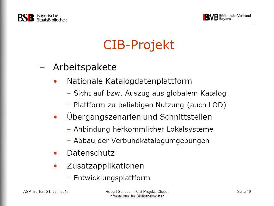 ASP-Treffen: 21. Juni 2013Robert Scheuerl : CIB-Projekt: Cloud- Infrastruktur für Bibliotheksdaten Seite 10 CIB-Projekt –Arbeitspakete Nationale Katal
