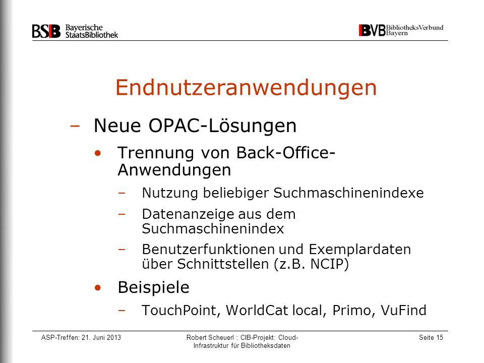 ASP-Treffen: 21. Juni 2013Robert Scheuerl : CIB-Projekt: Cloud- Infrastruktur für Bibliotheksdaten Seite 15 Endnutzeranwendungen –Neue OPAC-Lösungen T