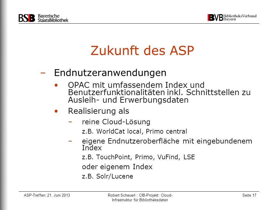 ASP-Treffen: 21. Juni 2013Robert Scheuerl : CIB-Projekt: Cloud- Infrastruktur für Bibliotheksdaten Seite 17 Zukunft des ASP –Endnutzeranwendungen OPAC