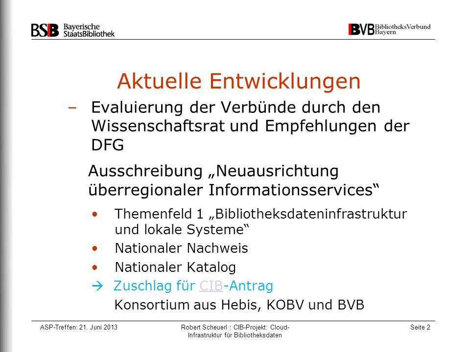 ASP-Treffen: 21. Juni 2013Robert Scheuerl : CIB-Projekt: Cloud- Infrastruktur für Bibliotheksdaten Seite 2 Aktuelle Entwicklungen –Evaluierung der Ver