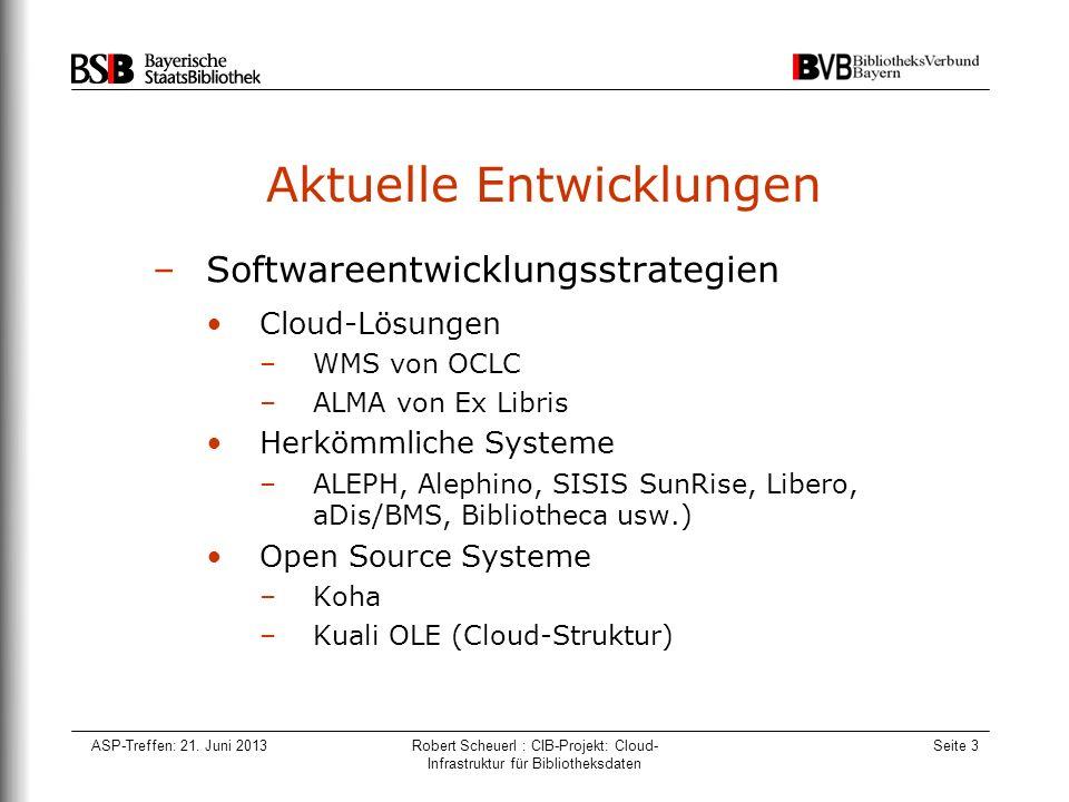 ASP-Treffen: 21. Juni 2013Robert Scheuerl : CIB-Projekt: Cloud- Infrastruktur für Bibliotheksdaten Seite 3 Aktuelle Entwicklungen –Softwareentwicklung