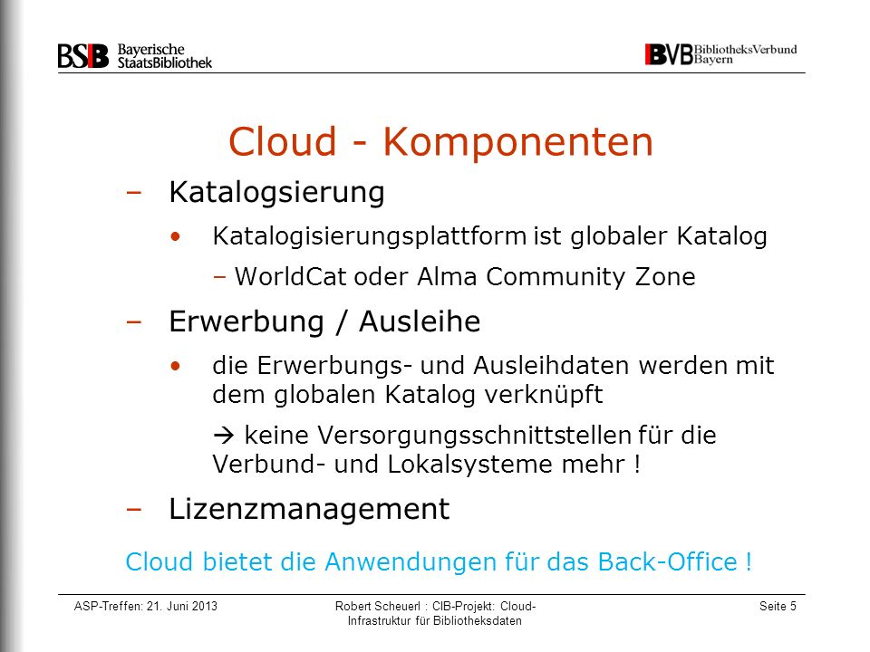 ASP-Treffen: 21. Juni 2013Robert Scheuerl : CIB-Projekt: Cloud- Infrastruktur für Bibliotheksdaten Seite 5 Cloud - Komponenten –Katalogsierung Katalog