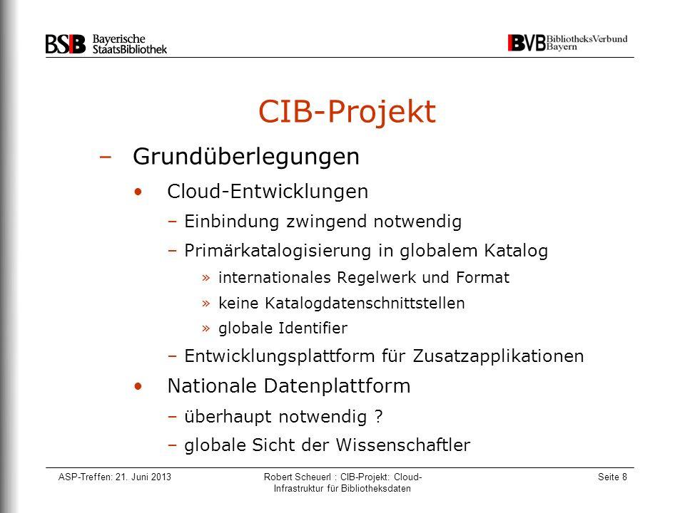 ASP-Treffen: 21. Juni 2013Robert Scheuerl : CIB-Projekt: Cloud- Infrastruktur für Bibliotheksdaten Seite 8 CIB-Projekt –Grundüberlegungen Cloud-Entwic