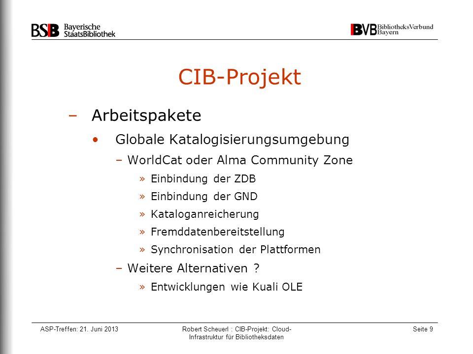 ASP-Treffen: 21. Juni 2013Robert Scheuerl : CIB-Projekt: Cloud- Infrastruktur für Bibliotheksdaten Seite 9 CIB-Projekt –Arbeitspakete Globale Katalogi