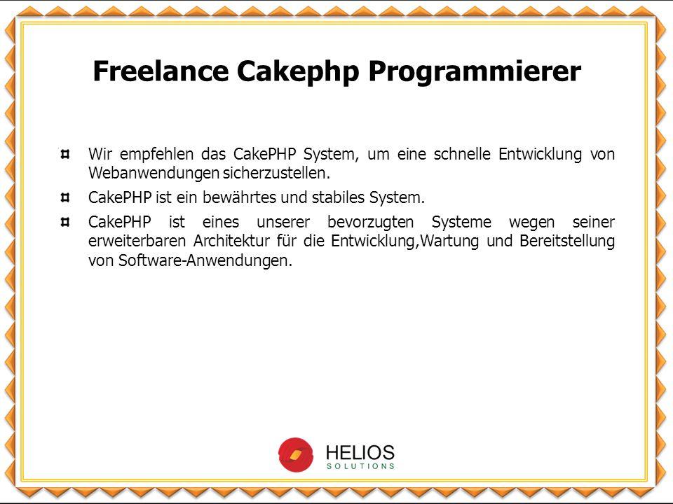 Charakteristika von CakePHP 1.Basiert auf einem allgemeinen Design-Schema, bekannt als MVC (Model View Controller Architektur) und ORM (Object Relation Mapping) 2.Open source web application framework 3.Kompatibel mit PHP4 und PHP5 und der MVC Architektur 4.Abgeleitet vom Ruby on Rails-Konzept 5.Es bietet eine architektonische Plattform für die Webseitenentwicklung 6.Es reduziert die Kosten für Webentwicklungen 7.CRUD integriert für Datenbank-Systeme und vereinfachte Abfragen 8.Templating (PHP Syntax mit Hilfemethoden) 9.Überblickshilfe für AJAX, JavaScript, HTML Formen 10.Eingebaute Validierung und Access control lists (ACL) 11.Daten Desinfektion und Sicherheit, Session-und Request-Handling-Komponenten