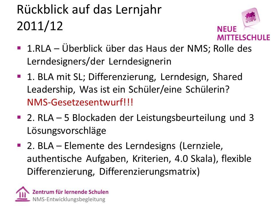 Rückblick auf das Lernjahr 2011/12  1.RLA – Überblick über das Haus der NMS; Rolle des Lerndesigners/der Lerndesignerin  1.