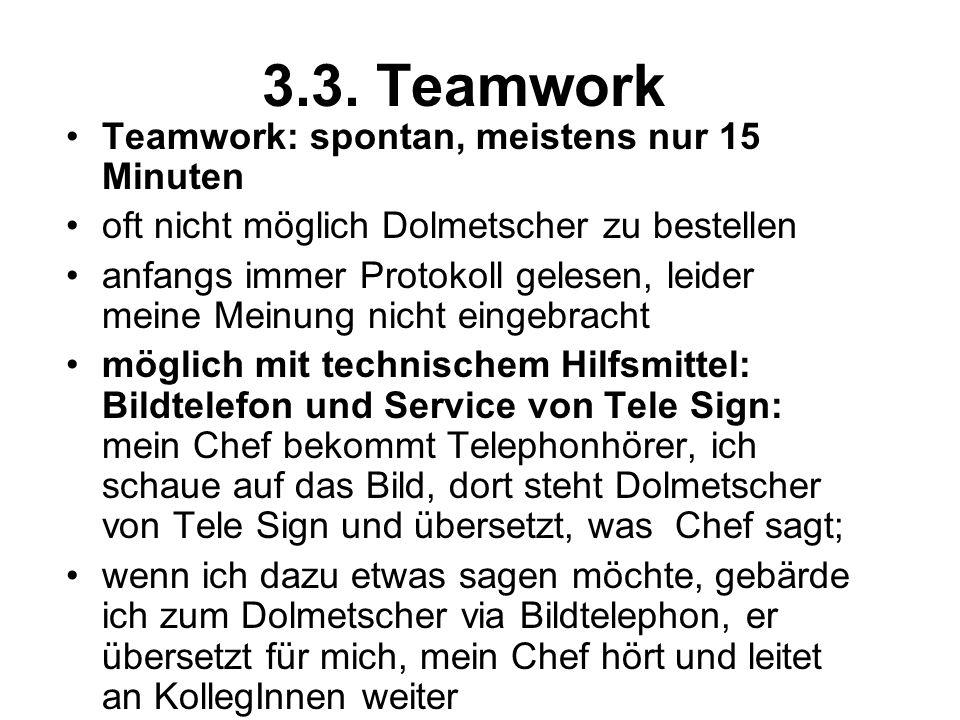 3.3. Teamwork Teamwork: spontan, meistens nur 15 Minuten oft nicht möglich Dolmetscher zu bestellen anfangs immer Protokoll gelesen, leider meine Mein