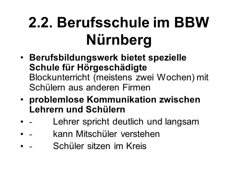 2.2. Berufsschule im BBW Nürnberg Berufsbildungswerk bietet spezielle Schule für Hörgeschädigte Blockunterricht (meistens zwei Wochen) mit Schülern au