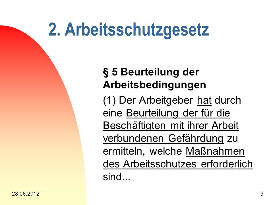 28.06.201210 § 6 Dokumentation (1) Der Arbeitgeber muß über die...
