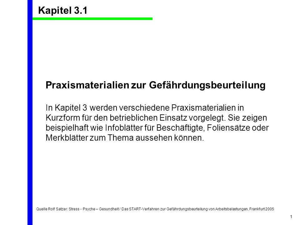 Quelle Rolf Satzer: Stress - Psyche – Gesundheit / Das START-Verfahren zur Gefährdungsbeurteilung von Arbeitsbelastungen, Frankfurt 2005 1 Kapitel 3.1