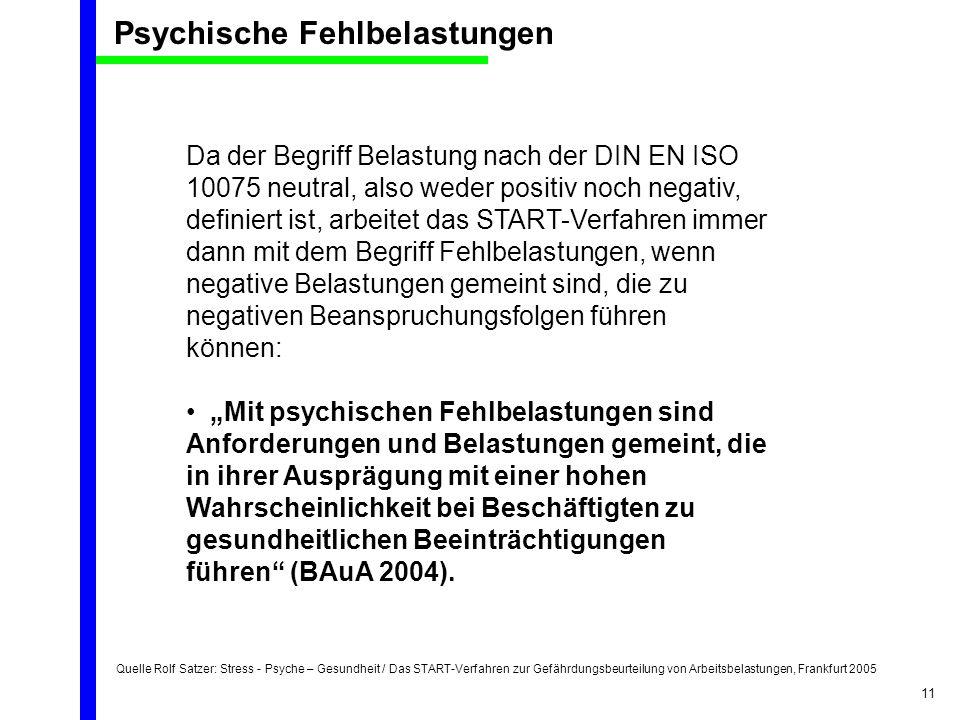 Quelle Rolf Satzer: Stress - Psyche – Gesundheit / Das START-Verfahren zur Gefährdungsbeurteilung von Arbeitsbelastungen, Frankfurt 2005 11 Da der Beg