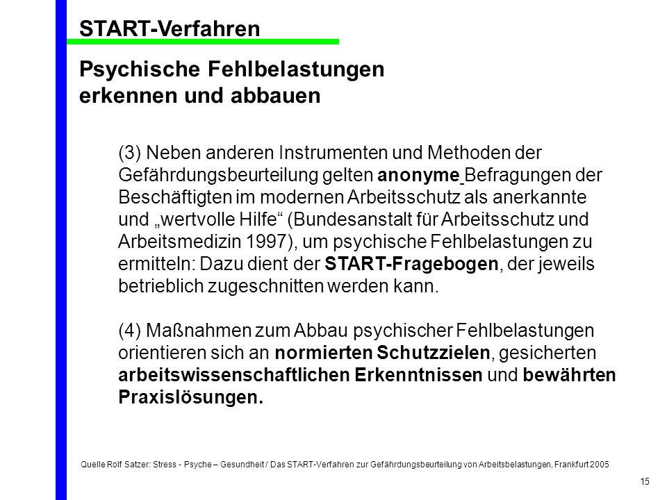 Quelle Rolf Satzer: Stress - Psyche – Gesundheit / Das START-Verfahren zur Gefährdungsbeurteilung von Arbeitsbelastungen, Frankfurt 2005 15 START-Verf
