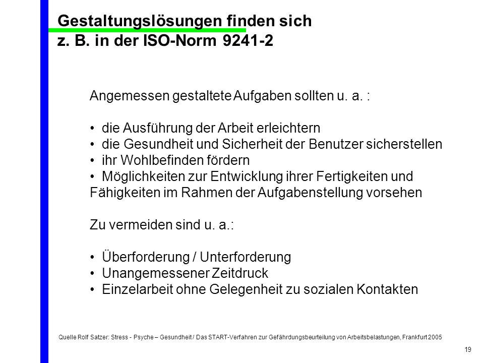 Quelle Rolf Satzer: Stress - Psyche – Gesundheit / Das START-Verfahren zur Gefährdungsbeurteilung von Arbeitsbelastungen, Frankfurt 2005 19 Angemessen