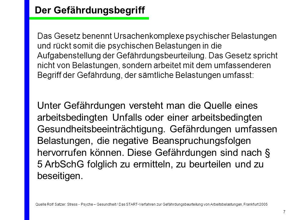 Quelle Rolf Satzer: Stress - Psyche – Gesundheit / Das START-Verfahren zur Gefährdungsbeurteilung von Arbeitsbelastungen, Frankfurt 2005 7 Das Gesetz