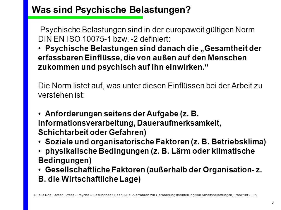 Quelle Rolf Satzer: Stress - Psyche – Gesundheit / Das START-Verfahren zur Gefährdungsbeurteilung von Arbeitsbelastungen, Frankfurt 2005 8 Psychische