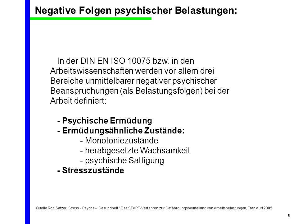 Quelle Rolf Satzer: Stress - Psyche – Gesundheit / Das START-Verfahren zur Gefährdungsbeurteilung von Arbeitsbelastungen, Frankfurt 2005 9 In der DIN