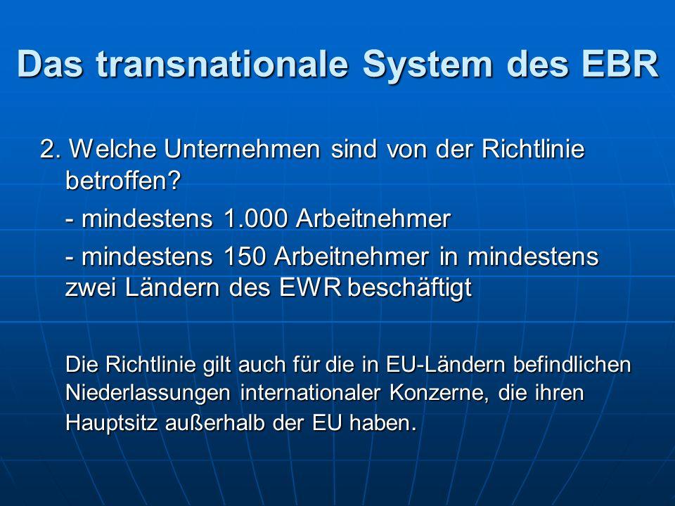 Das transnationale System des EBR 2. Welche Unternehmen sind von der Richtlinie betroffen.