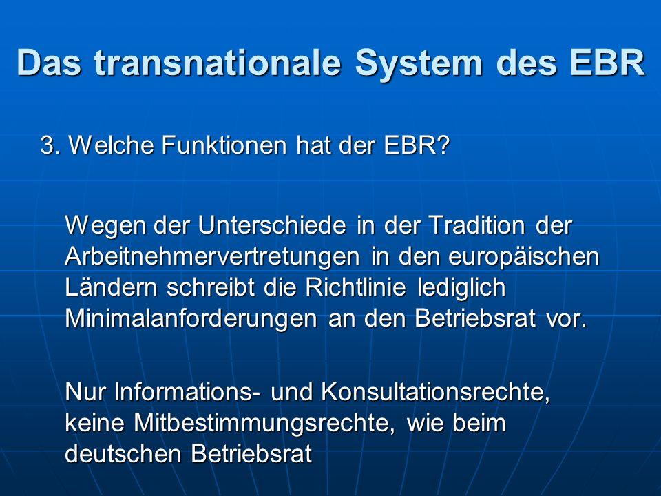 Das transnationale System des EBR 3. Welche Funktionen hat der EBR.