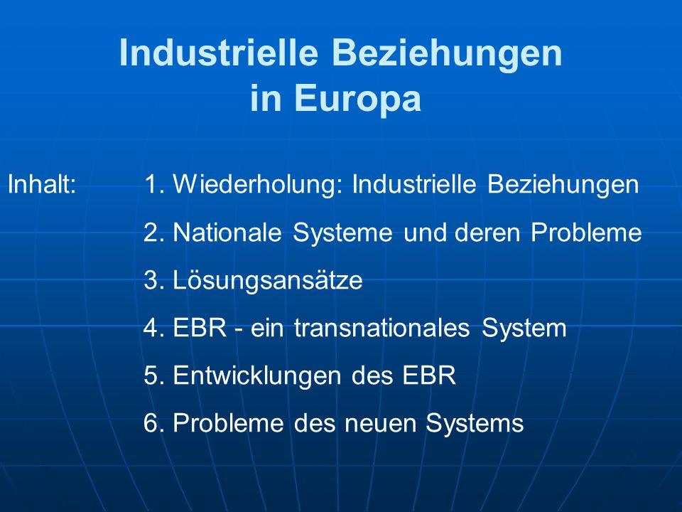 Industrielle Beziehungen in Europa Inhalt:1. Wiederholung: Industrielle Beziehungen 2.