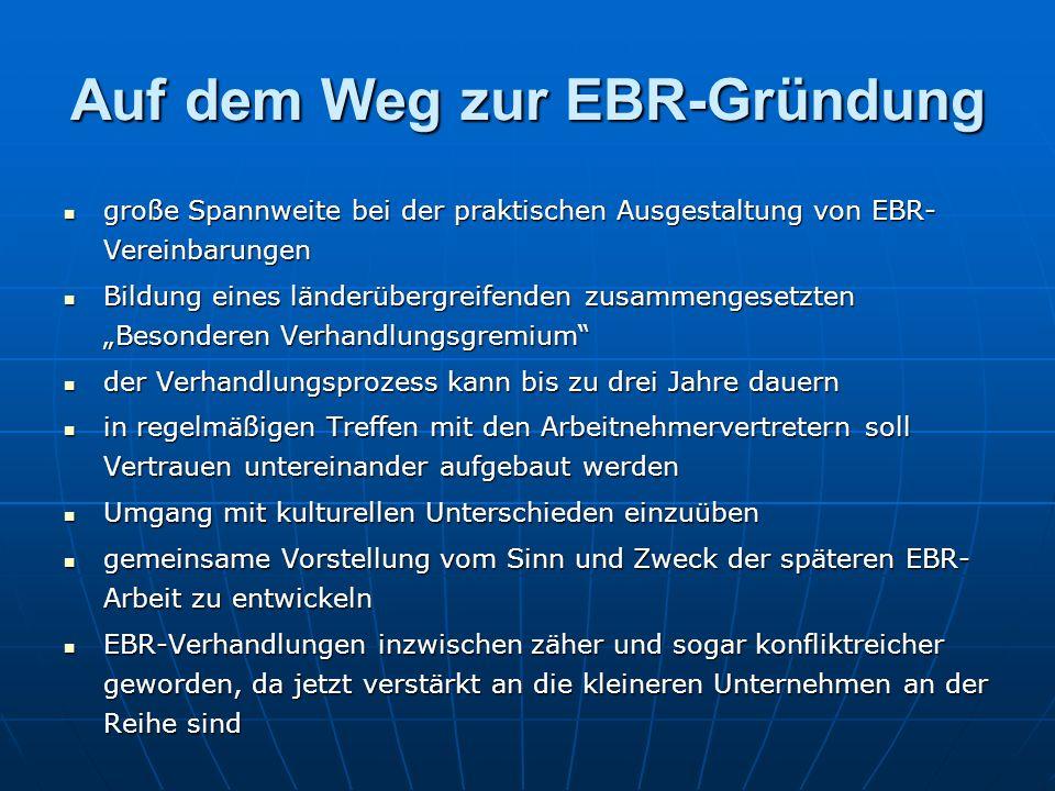 """Auf dem Weg zur EBR-Gründung große Spannweite bei der praktischen Ausgestaltung von EBR- Vereinbarungen große Spannweite bei der praktischen Ausgestaltung von EBR- Vereinbarungen Bildung eines länderübergreifenden zusammengesetzten """"Besonderen Verhandlungsgremium Bildung eines länderübergreifenden zusammengesetzten """"Besonderen Verhandlungsgremium der Verhandlungsprozess kann bis zu drei Jahre dauern der Verhandlungsprozess kann bis zu drei Jahre dauern in regelmäßigen Treffen mit den Arbeitnehmervertretern soll Vertrauen untereinander aufgebaut werden in regelmäßigen Treffen mit den Arbeitnehmervertretern soll Vertrauen untereinander aufgebaut werden Umgang mit kulturellen Unterschieden einzuüben Umgang mit kulturellen Unterschieden einzuüben gemeinsame Vorstellung vom Sinn und Zweck der späteren EBR- Arbeit zu entwickeln gemeinsame Vorstellung vom Sinn und Zweck der späteren EBR- Arbeit zu entwickeln EBR-Verhandlungen inzwischen zäher und sogar konfliktreicher geworden, da jetzt verstärkt an die kleineren Unternehmen an der Reihe sind EBR-Verhandlungen inzwischen zäher und sogar konfliktreicher geworden, da jetzt verstärkt an die kleineren Unternehmen an der Reihe sind"""