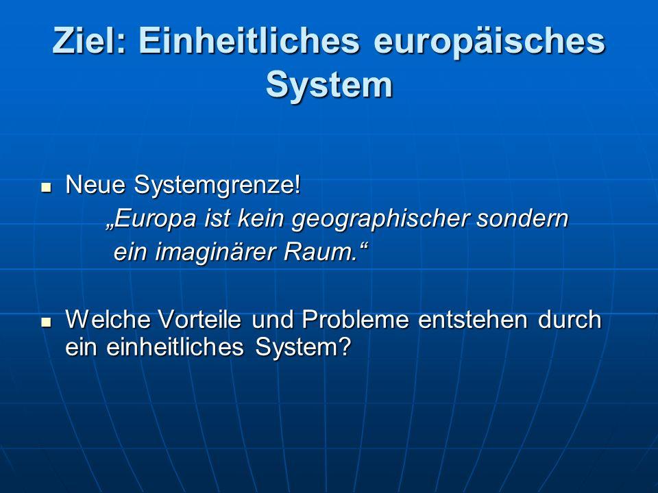 Ziel: Einheitliches europäisches System Neue Systemgrenze.