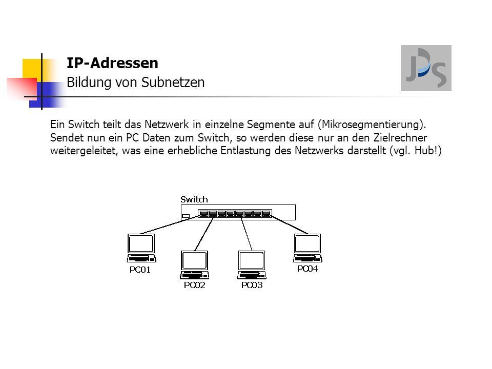 IP-Adressen Bildung von Subnetzen Ein Switch teilt das Netzwerk in einzelne Segmente auf (Mikrosegmentierung).
