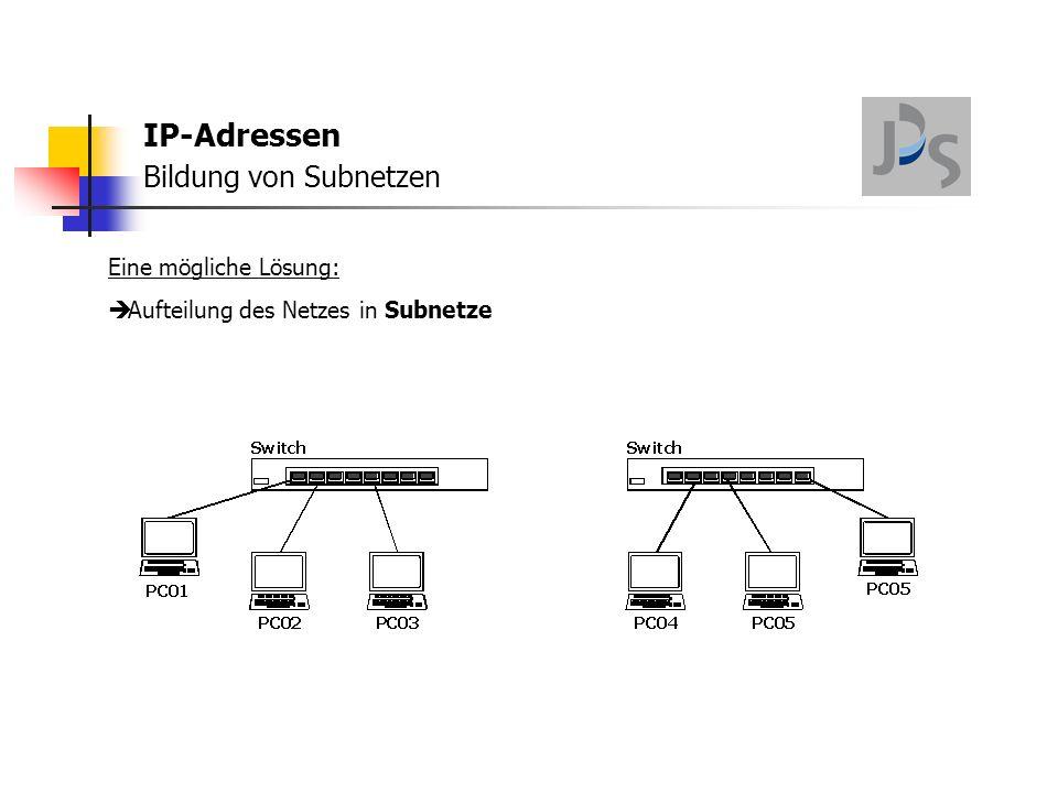 IP-Adressen Bildung von Subnetzen Eine mögliche Lösung:  Aufteilung des Netzes in Subnetze  verbunden mit einem Router