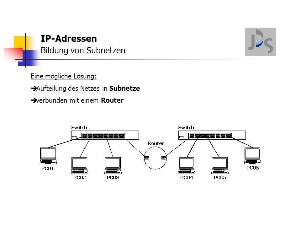 IP-Adressen Bildung von Subnetzen Eine mögliche Lösung:  Der Router leitet Broadcasts nicht ins andere Subnetz weiter!