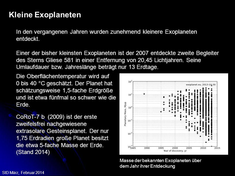 StD März, Februar 2014 Kleine Exoplaneten In den vergangenen Jahren wurden zunehmend kleinere Exoplaneten entdeckt. Einer der bisher kleinsten Exoplan