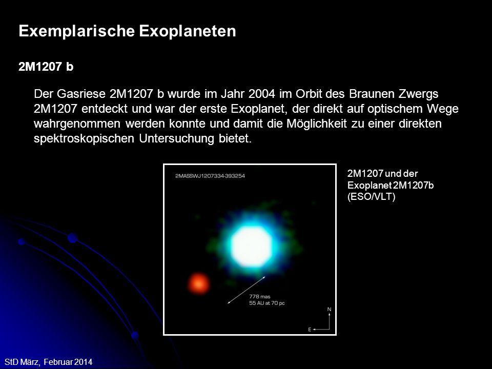 StD März, Februar 2014 Der Gasriese 2M1207 b wurde im Jahr 2004 im Orbit des Braunen Zwergs 2M1207 entdeckt und war der erste Exoplanet, der direkt au