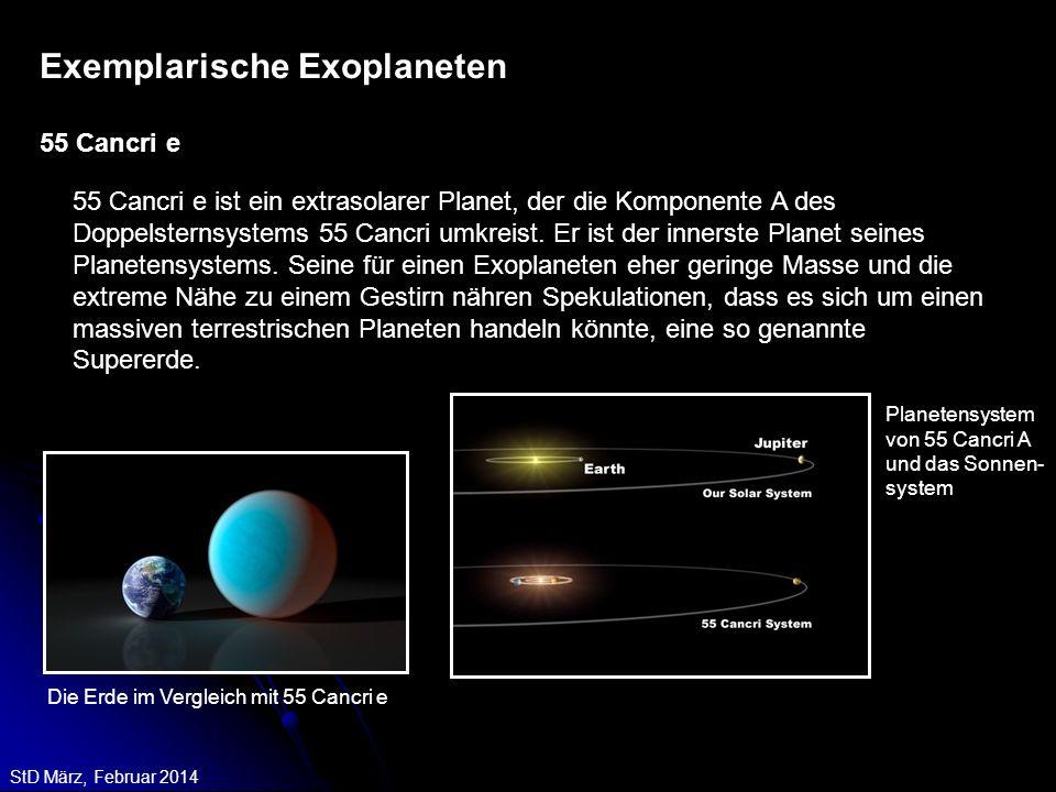 StD März, Februar 2014 55 Cancri e ist ein extrasolarer Planet, der die Komponente A des Doppelsternsystems 55 Cancri umkreist. Er ist der innerste Pl