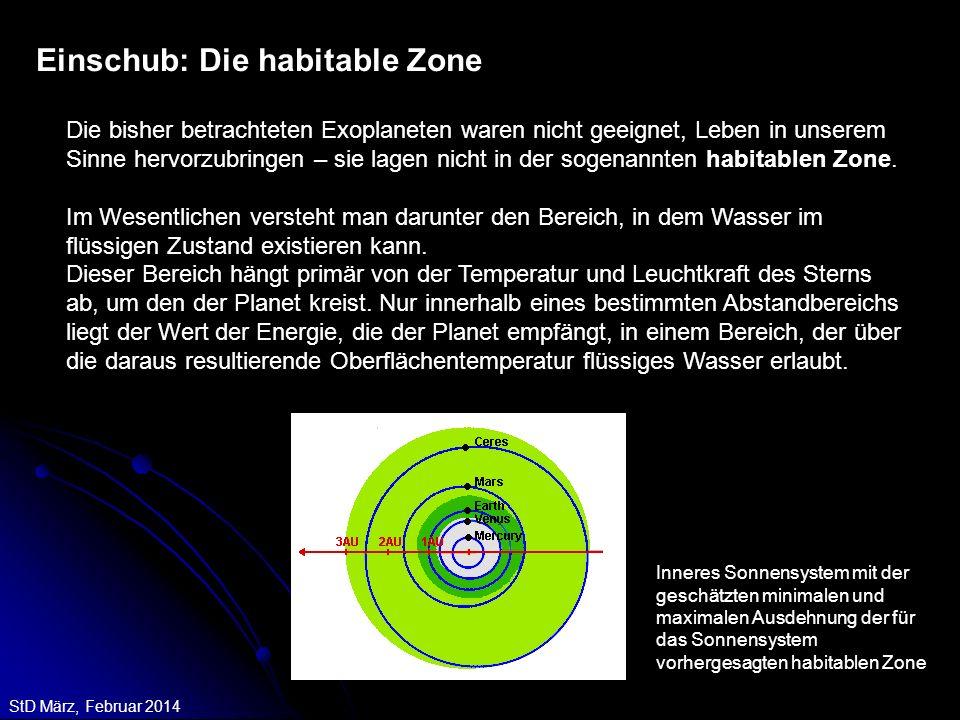 StD März, Februar 2014 Einschub: Die habitable Zone Die bisher betrachteten Exoplaneten waren nicht geeignet, Leben in unserem Sinne hervorzubringen –