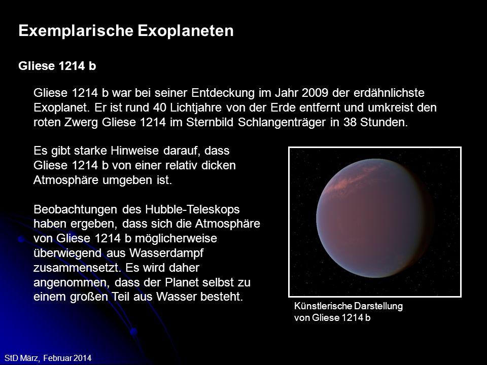 StD März, Februar 2014 Gliese 1214 b war bei seiner Entdeckung im Jahr 2009 der erdähnlichste Exoplanet. Er ist rund 40 Lichtjahre von der Erde entfer