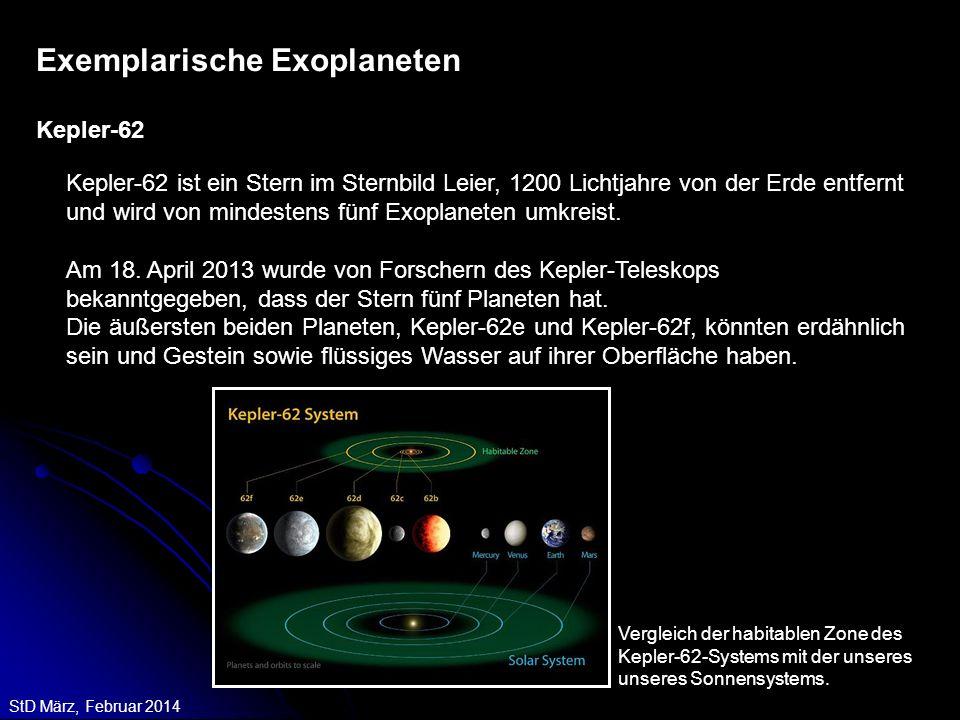 StD März, Februar 2014 Kepler-62 ist ein Stern im Sternbild Leier, 1200 Lichtjahre von der Erde entfernt und wird von mindestens fünf Exoplaneten umkr