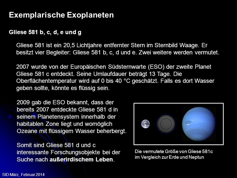 StD März, Februar 2014 Gliese 581 ist ein 20,5 Lichtjahre entfernter Stern im Sternbild Waage. Er besitzt vier Begleiter: Gliese 581 b, c, d und e. Zw