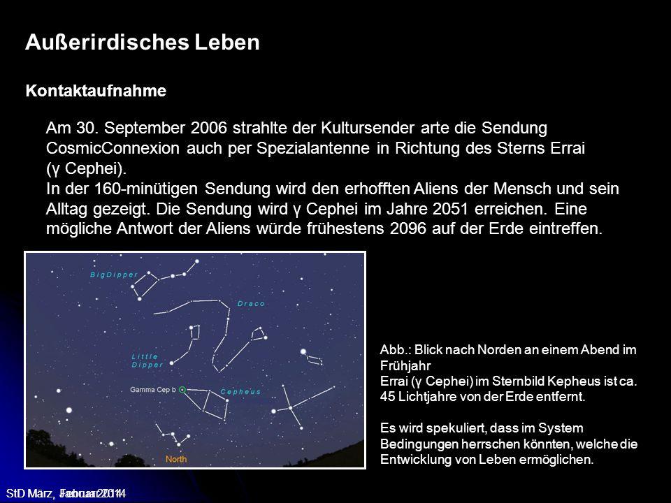 StD März, Februar 2014 Am 30. September 2006 strahlte der Kultursender arte die Sendung CosmicConnexion auch per Spezialantenne in Richtung des Sterns