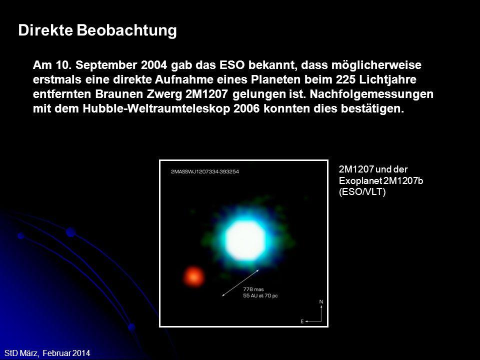 StD März, Februar 2014 Direkte Beobachtung Am 10. September 2004 gab das ESO bekannt, dass möglicherweise erstmals eine direkte Aufnahme eines Planete