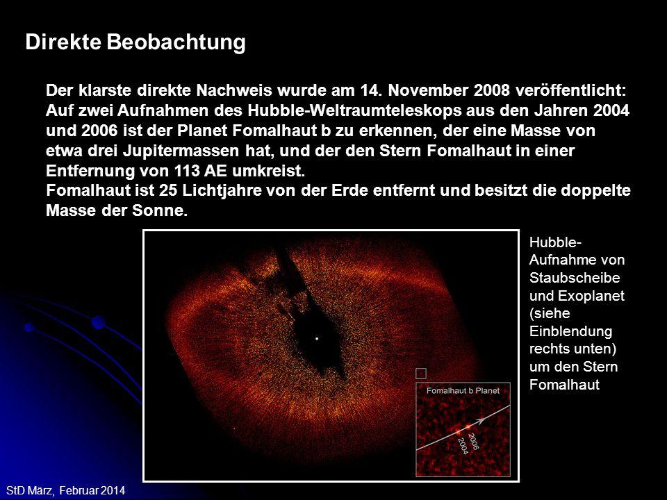 StD März, Februar 2014 Direkte Beobachtung Der klarste direkte Nachweis wurde am 14. November 2008 veröffentlicht: Auf zwei Aufnahmen des Hubble-Weltr