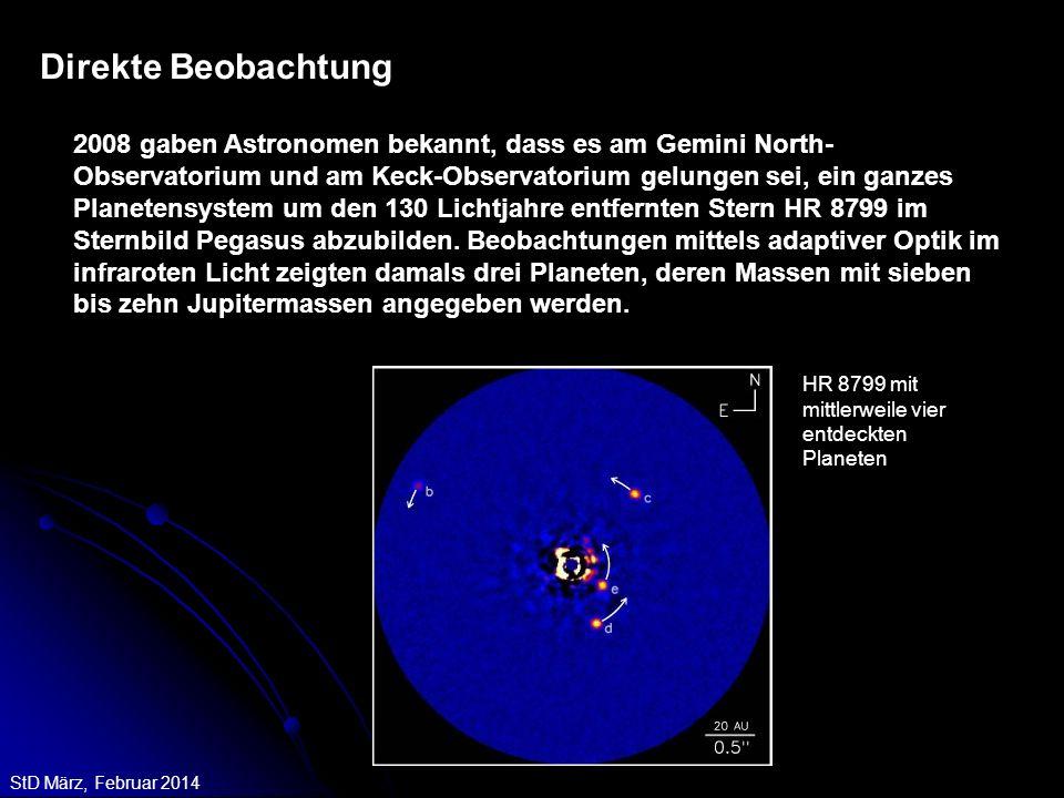 StD März, Februar 2014 Direkte Beobachtung 2008 gaben Astronomen bekannt, dass es am Gemini North- Observatorium und am Keck-Observatorium gelungen se