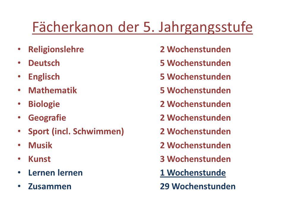Fächerkanon der 5. Jahrgangsstufe Religionslehre2 Wochenstunden Deutsch5 Wochenstunden Englisch5 Wochenstunden Mathematik5 Wochenstunden Biologie2 Woc