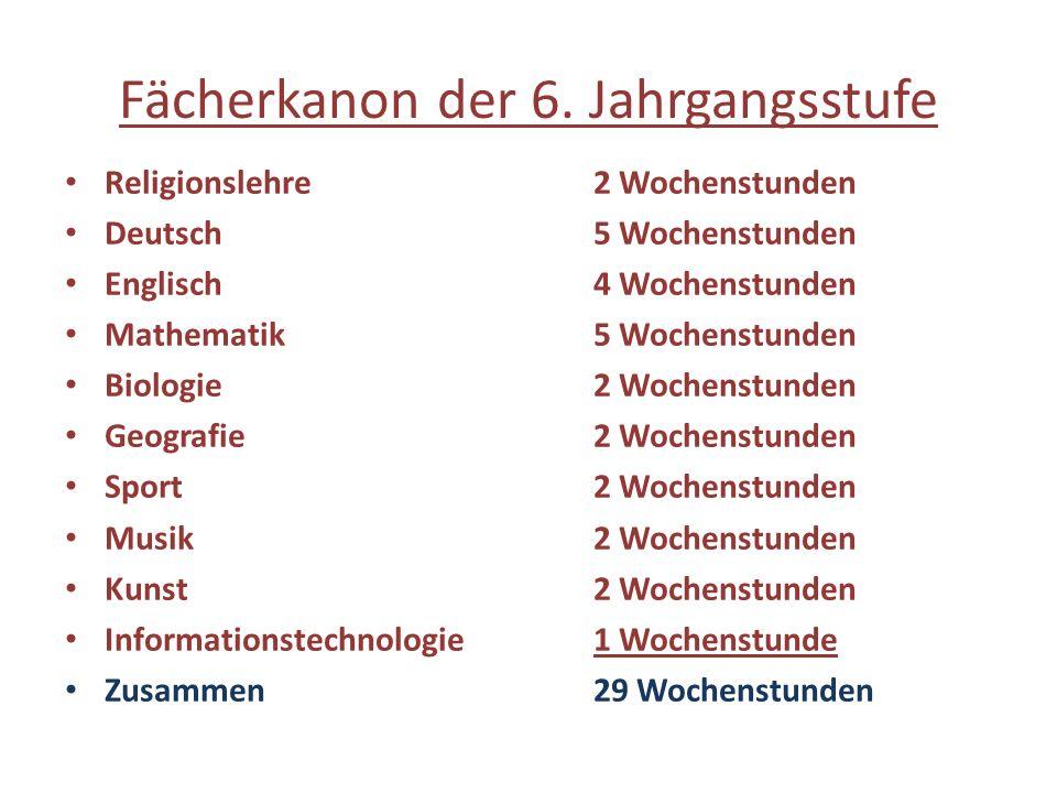 Fächerkanon der 6. Jahrgangsstufe Religionslehre2 Wochenstunden Deutsch5 Wochenstunden Englisch4 Wochenstunden Mathematik5 Wochenstunden Biologie2 Woc